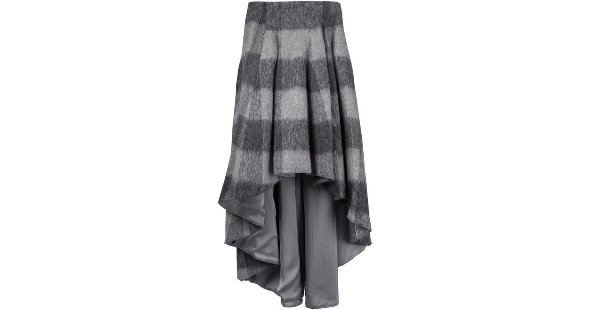 dominic louis plaid high low skirt in gray grey lyst