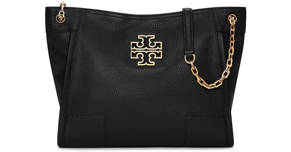 919e3b4a701 Lyst - Tory Burch Britten Small Slouchy Leather Tote in Black