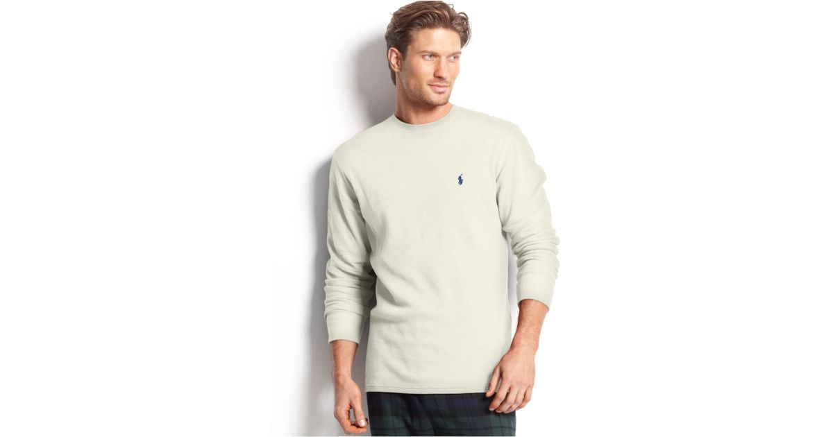 5e61230c99eb3 Lyst - Polo Ralph Lauren Big And Tall Long Sleeve Crew Neck Waffle Thermal  Top in Natural for Men