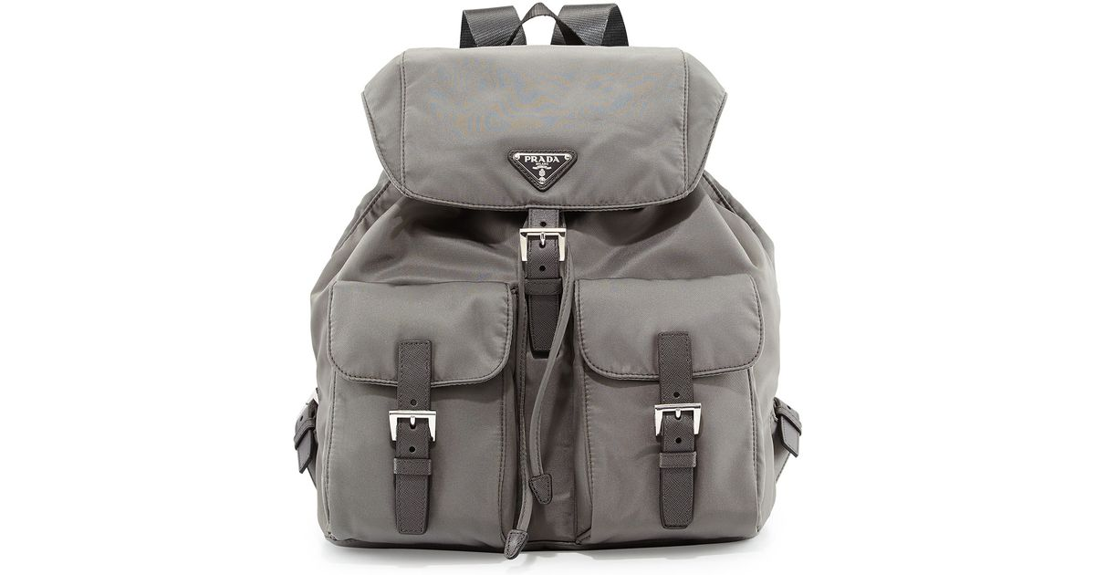 f9116e6dd080 ... coupon code for prada vela medium backpack in gray for men lyst 09786  f770c