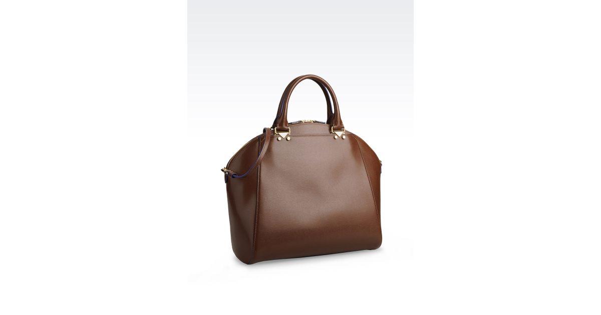 Lyst - Emporio Armani Bugatti Bag in Boarded Leather in Brown 59c44de490993