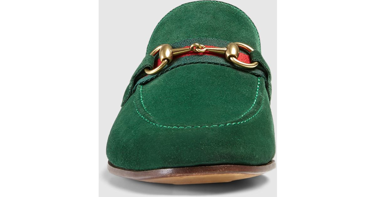 b296f4121 Gucci Suede Horsebit Loafer With Web in Green for Men - Lyst