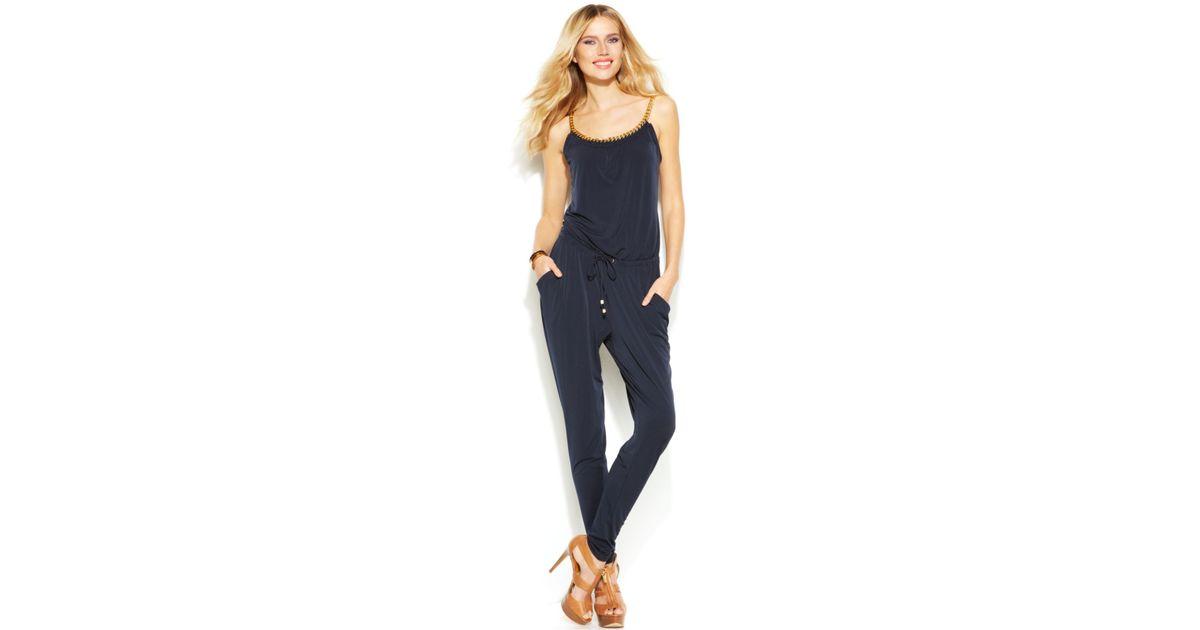 7681cfdbefb Lyst - Michael Kors Michael Slim-Leg Chain-Strap Jumpsuit in Blue
