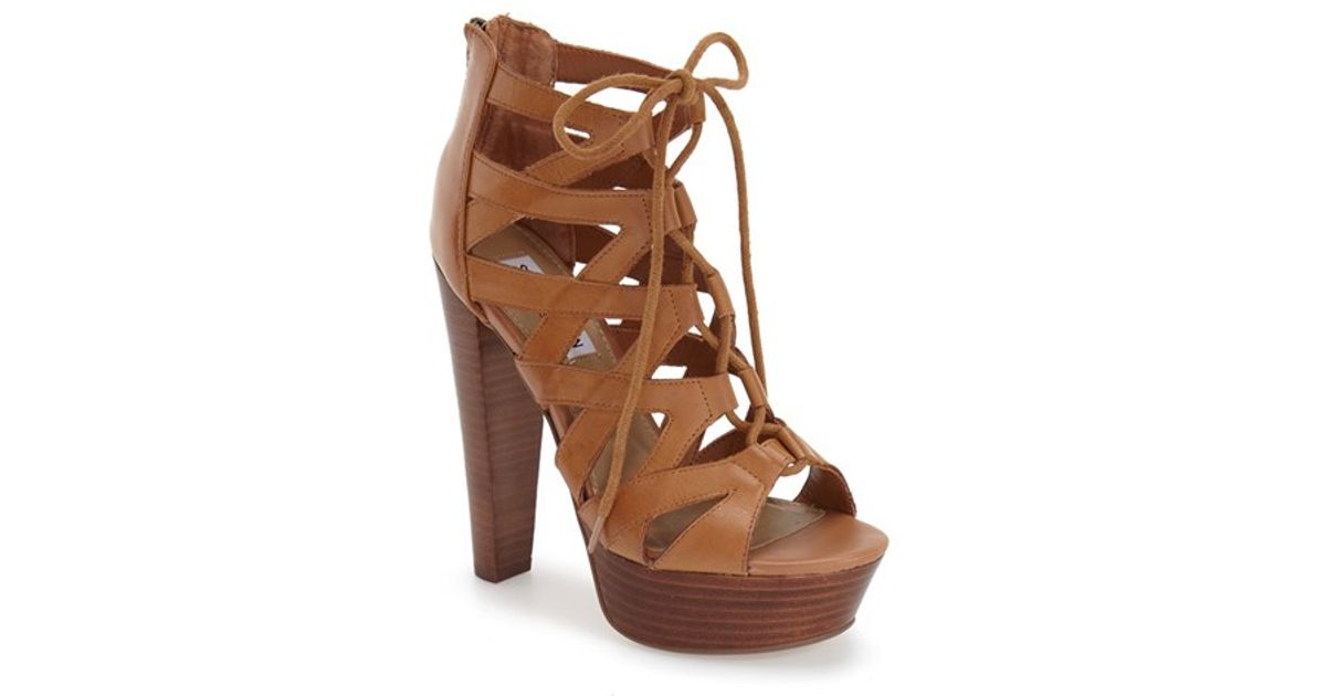 f76018c4b1e Lyst - Steve Madden  dreamgirl  Lace-up Sandal in Brown