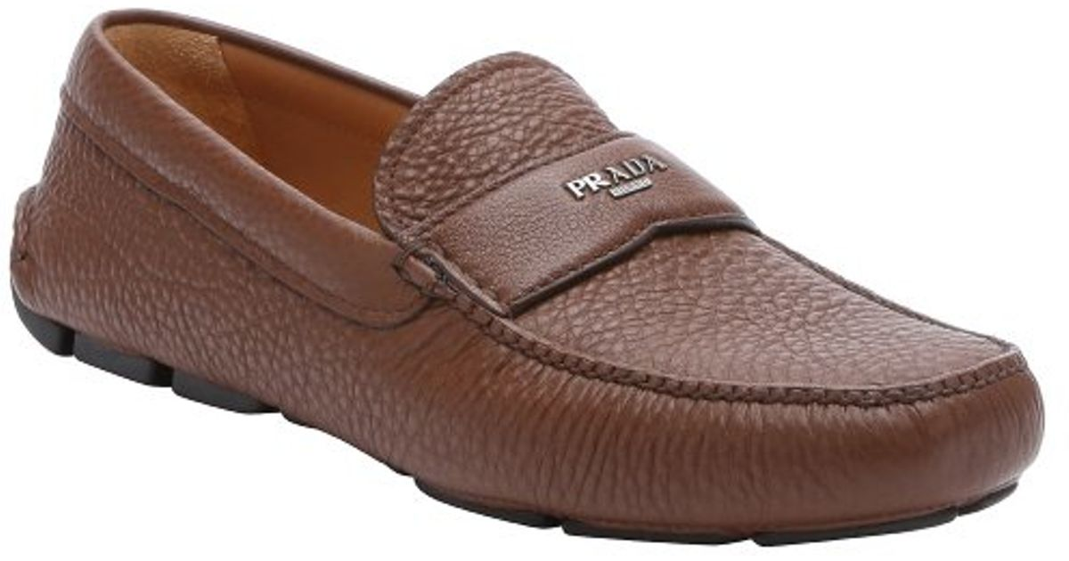 07f988b6a98 ... discount code for lyst prada brown leather moc toe driving loafers in  brown for men b1020