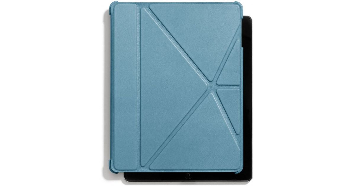 coach bleecker leather molded origami ipad case in blue