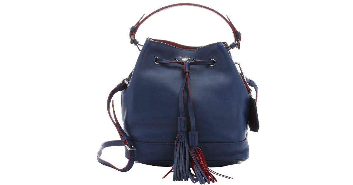 2871f9043692 Lyst - Prada Blue Calfskin Drawstring Large Bucket Bag in Blue