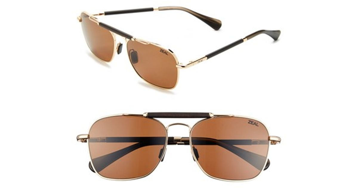 c3f8a87d23 Zeal Optics  draper  55mm Polarized Plant Based Sunglasses - Draper  Polished Gold in Metallic - Lyst