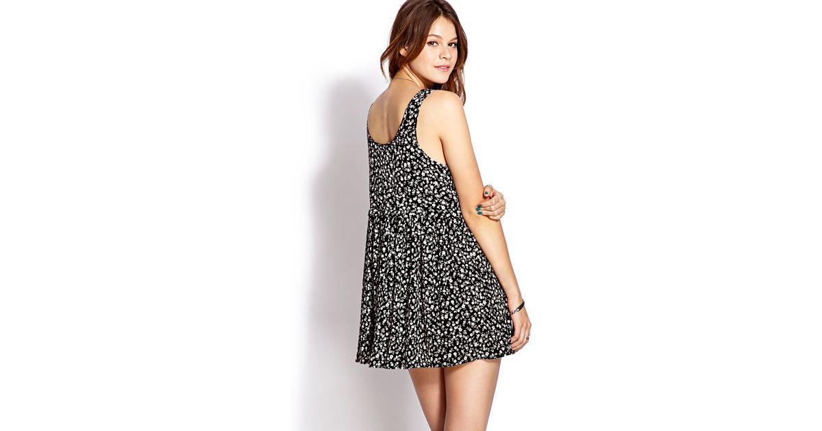 Lyst Forever 21 Darling Daisy Babydoll Dress In Black