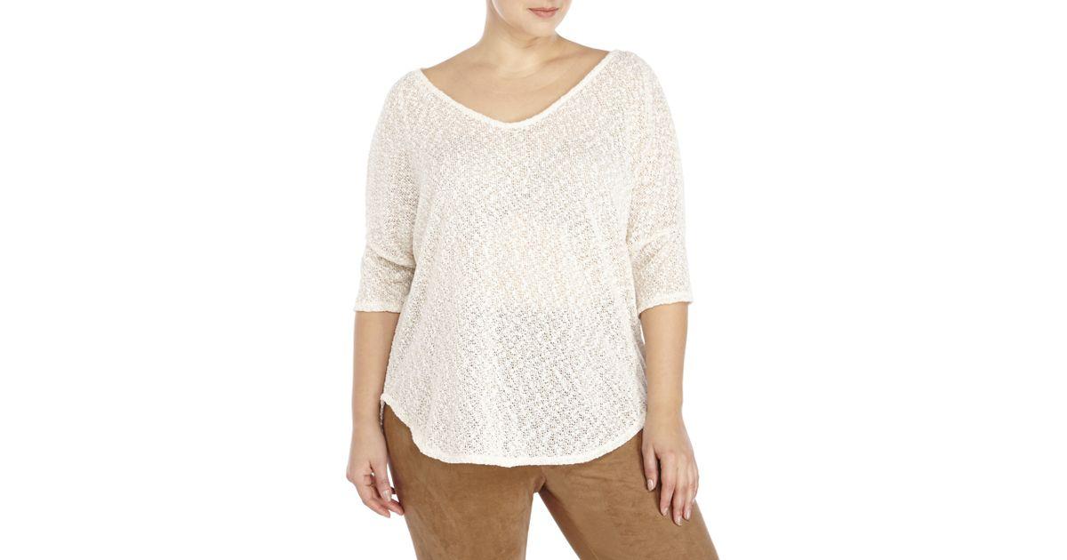 4f240b7c84a Lyst - Jessica Simpson Plus Size Antique White Elinah Lurex Sweater in White