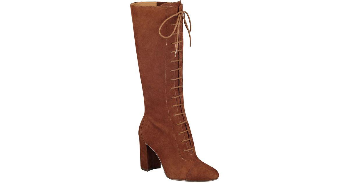 nine west waterfall suede cap toe boots in brown lyst