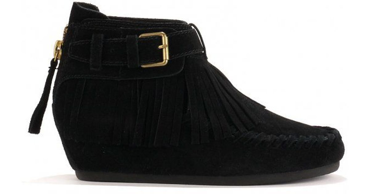 ash stop tassel ankle boots suede in black lyst