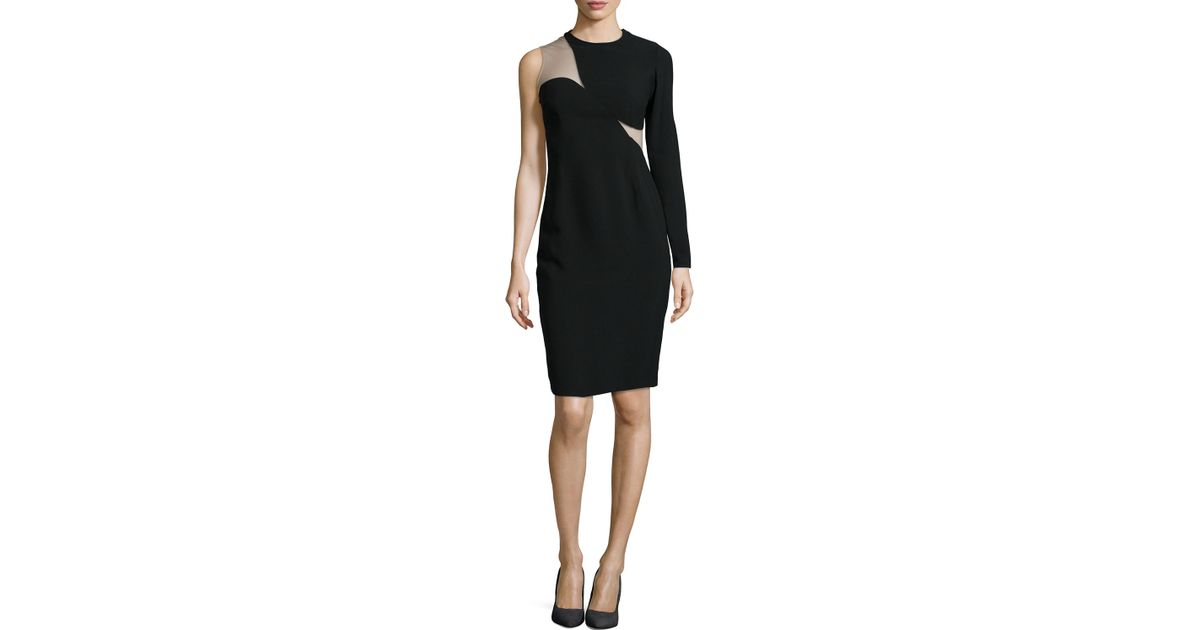 4e3d3173eba8 Lyst - Stella McCartney One-Sleeve Illusion Sheath Dress in Black