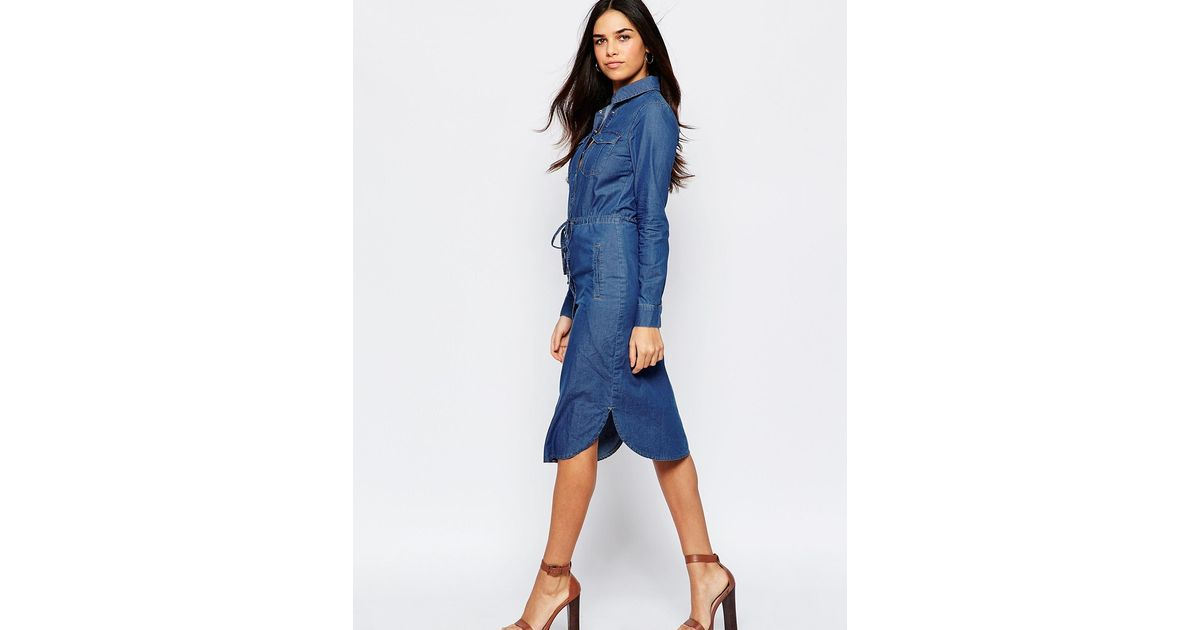4e03ab95d47 Lyst - Warehouse Denim Shirt Dress in Blue