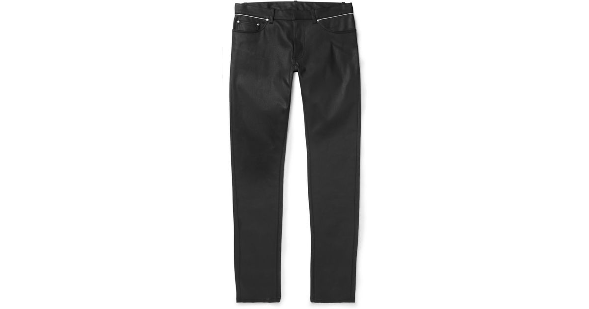 Balenciaga Slim-Fit Coated-Denim Jeans in Black for Men