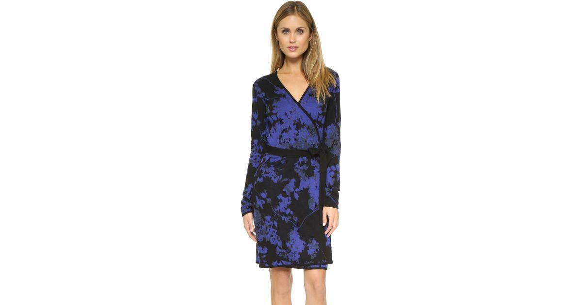 4fae879b51c Diane von Furstenberg Leandra Wrap Sweater Dress - Floral Daze Large Blue in  Blue - Lyst