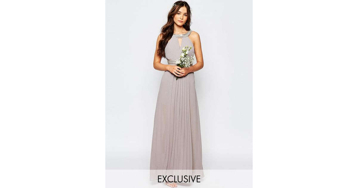 Tfnc London Wedding Embellished Pleated Maxi Dress In Gray