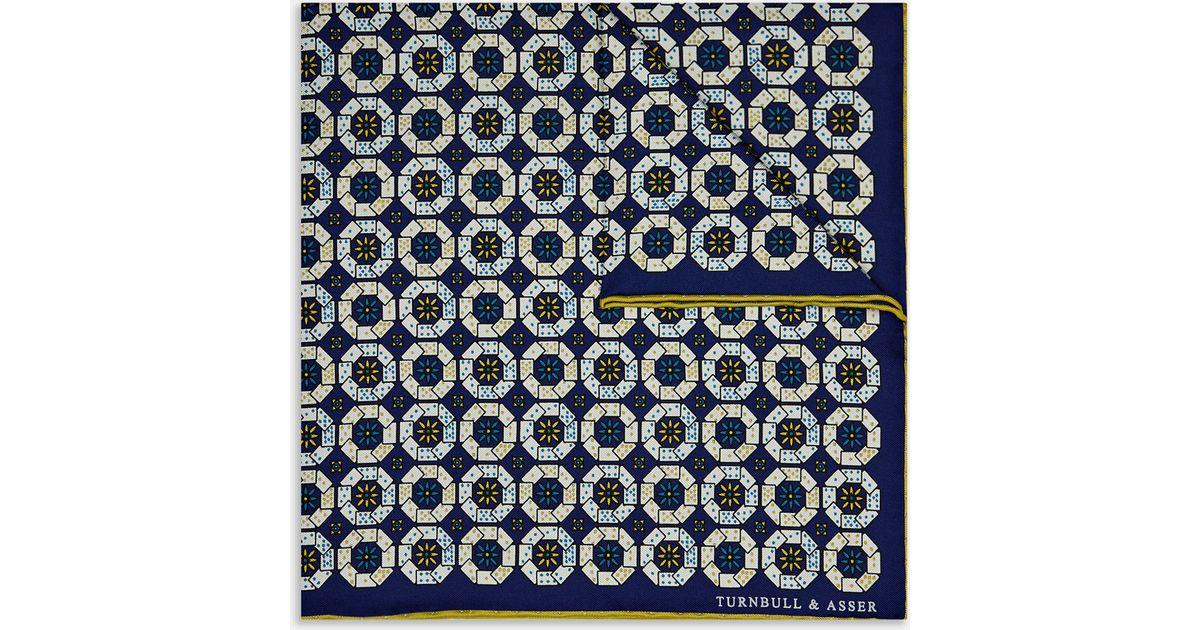 7e61b5ecc922e Turnbull & Asser Card Sharp Navy And Yellow Silk Pocket Square in Blue for  Men - Lyst