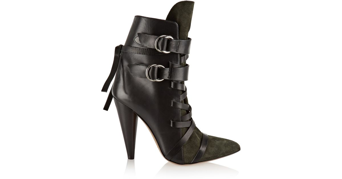 18571d9f3d6 Isabel Marant Royston Lace-up Leather And Suede Ankle Boots in Green - Lyst