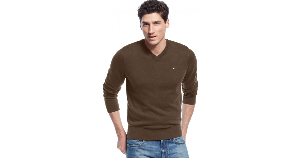 36c5b209a Tommy Hilfiger Big & Tall Signature Solid V-neck Sweater in Brown for Men -  Lyst