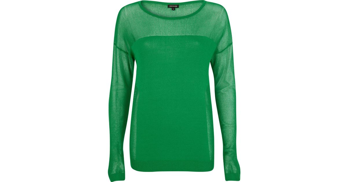 d07c030874ce93 River Island Green Mesh Insert Long Sleeve Top in Green - Lyst