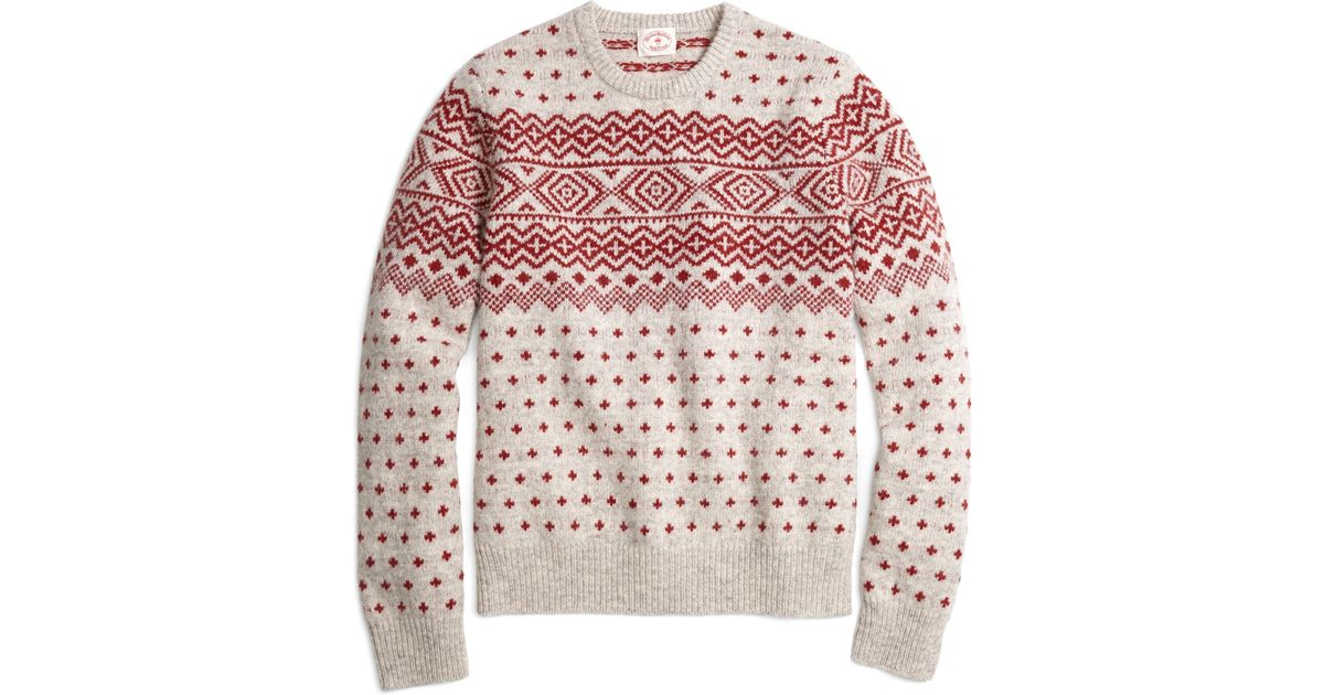 Brooks brothers Geometric Fair Isle Crewneck Sweater in Red | Lyst