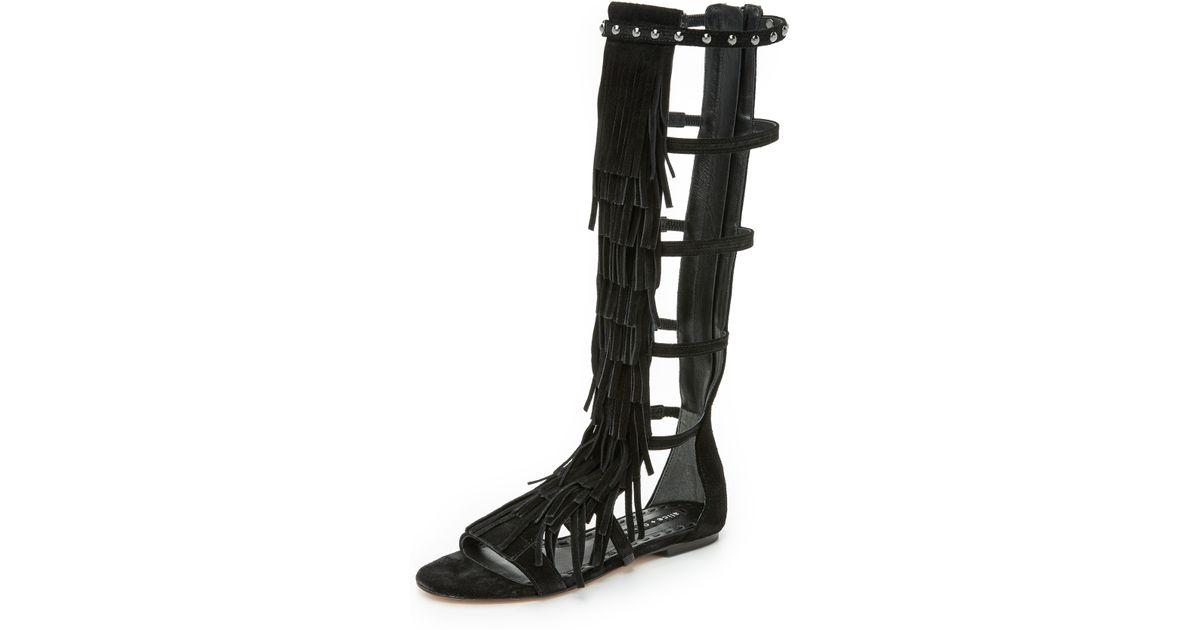 e75a1607b651 Lyst - Alice + Olivia Paula Fringe Gladiator Sandals in Black