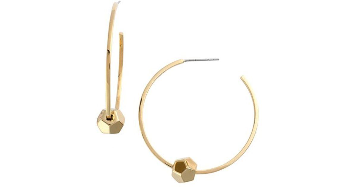 55afb7510 Lyst - Rebecca Minkoff Cube Hoop Earrings in Metallic
