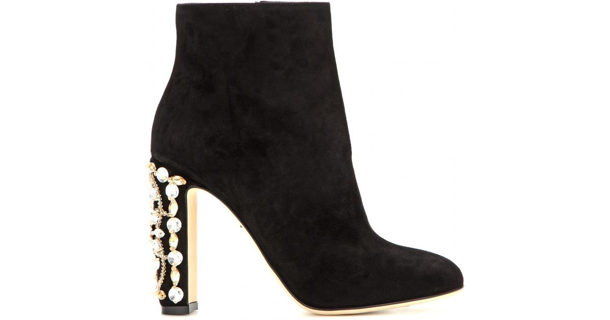 29b258ce4c Dolce   Gabbana Suede Ankle Boots With Crystal-embellished Heel in Black -  Lyst