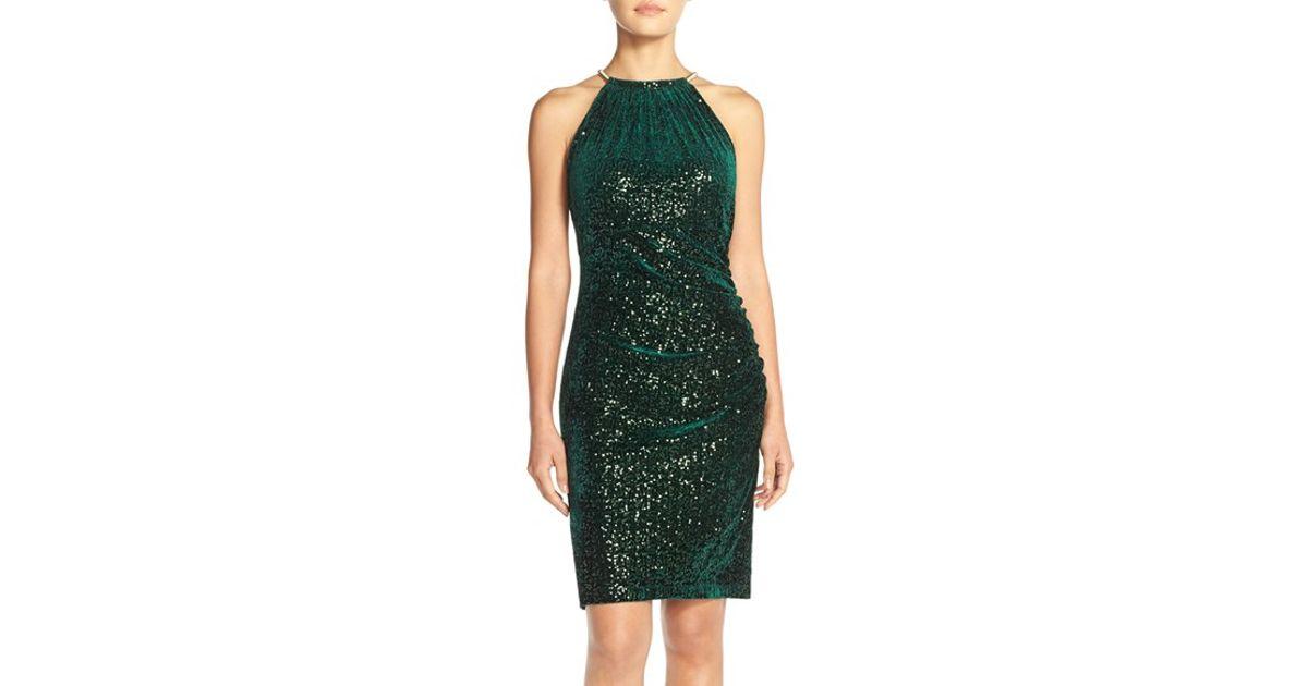 38c9a2f6 Eliza J Sequin Velvet Sheath Dress in Green - Lyst