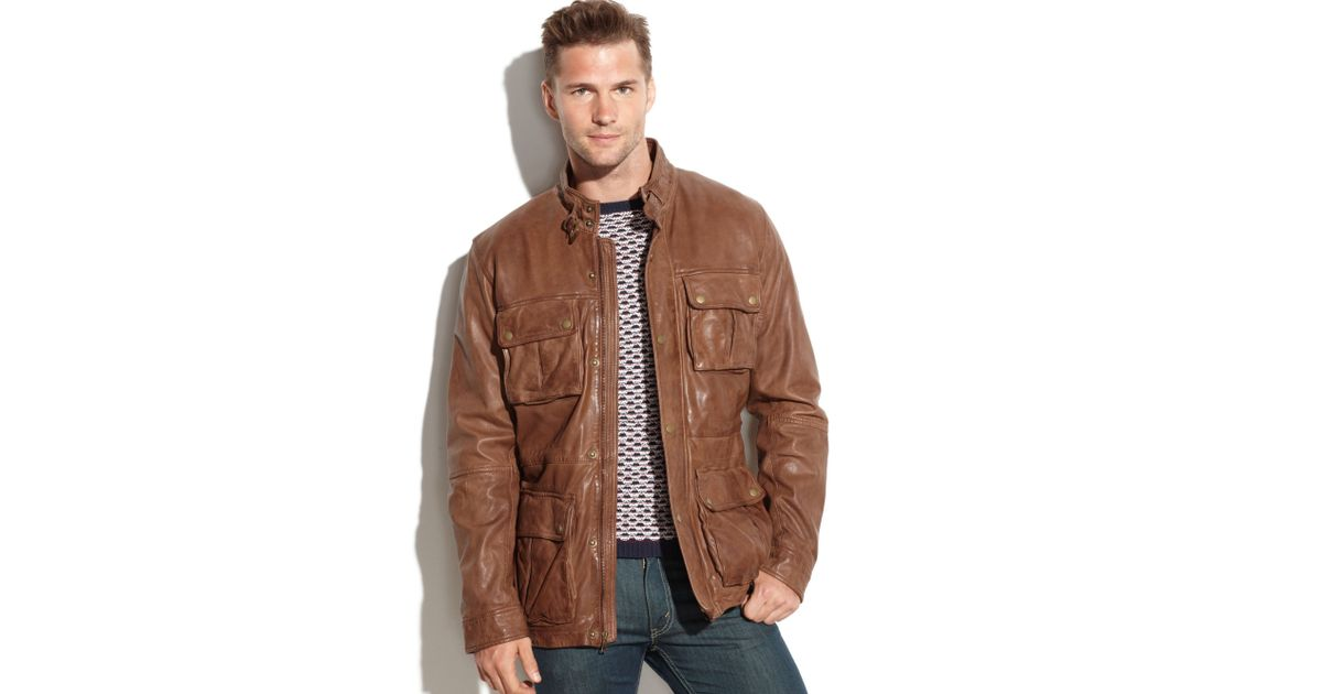 766f3bf342 Cole Haan Vintage Leather Four-Pocket Moto Jacket in Brown for Men - Lyst