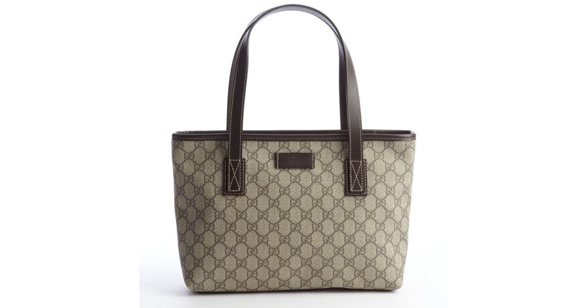 1b65ebffd67 Lyst Gucci Beige Coated Canvas Gg Small Imprimã Tote Bag In Natural