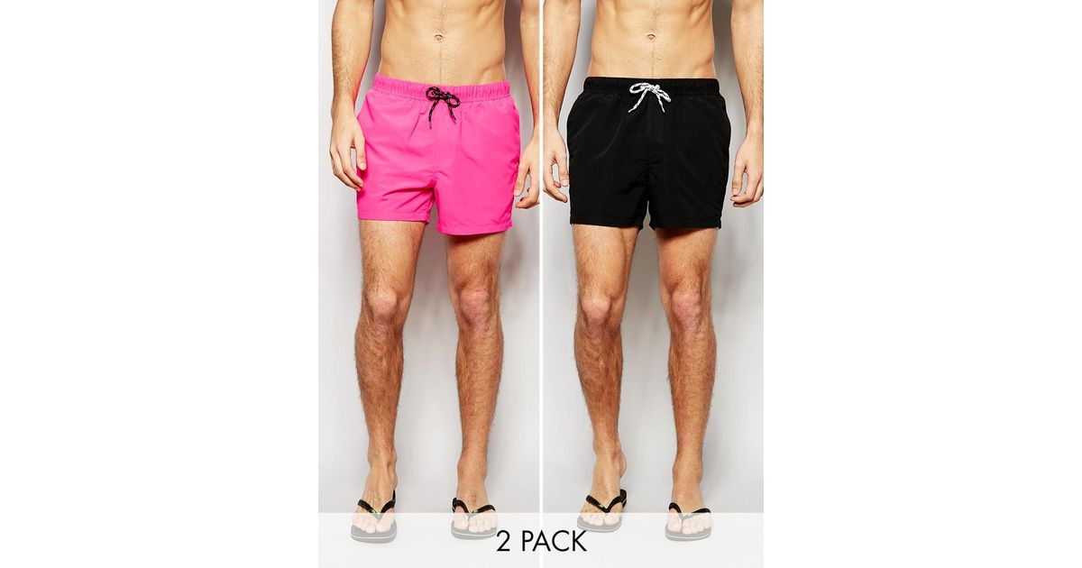 f11df2c0d3 ASOS Swim Shorts 2 Pack In Neon Pink And Black In Short Length Save 17% in  Pink for Men - Lyst
