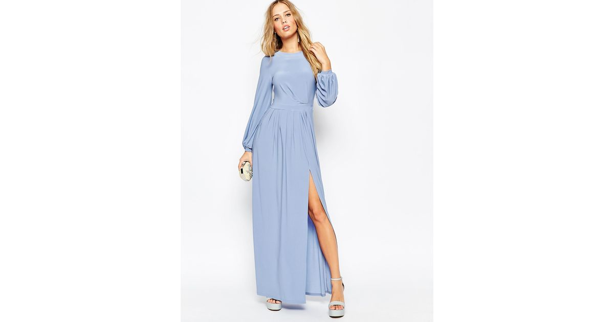 917e668ab6 ASOS Long Sleeve Slinky Maxi Dress in Blue - Lyst