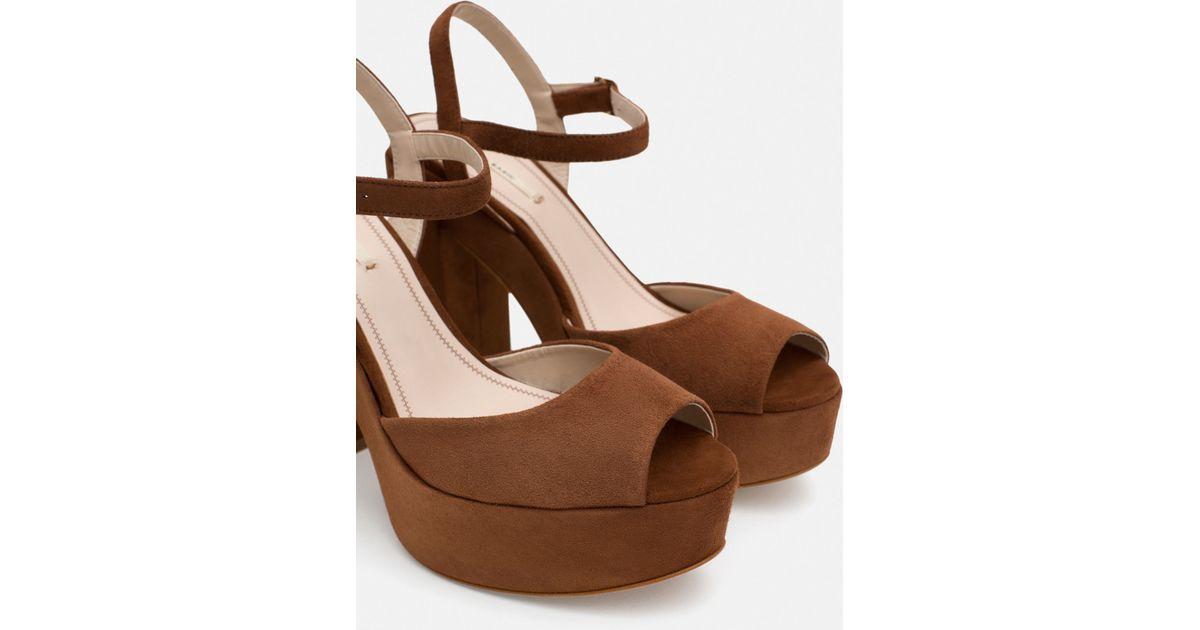 Zara Leather Platform Sandals In Brown Whisky Lyst