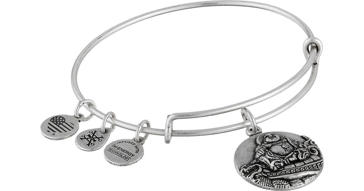 alex and ani laughing buddha bracelet in metallic lyst