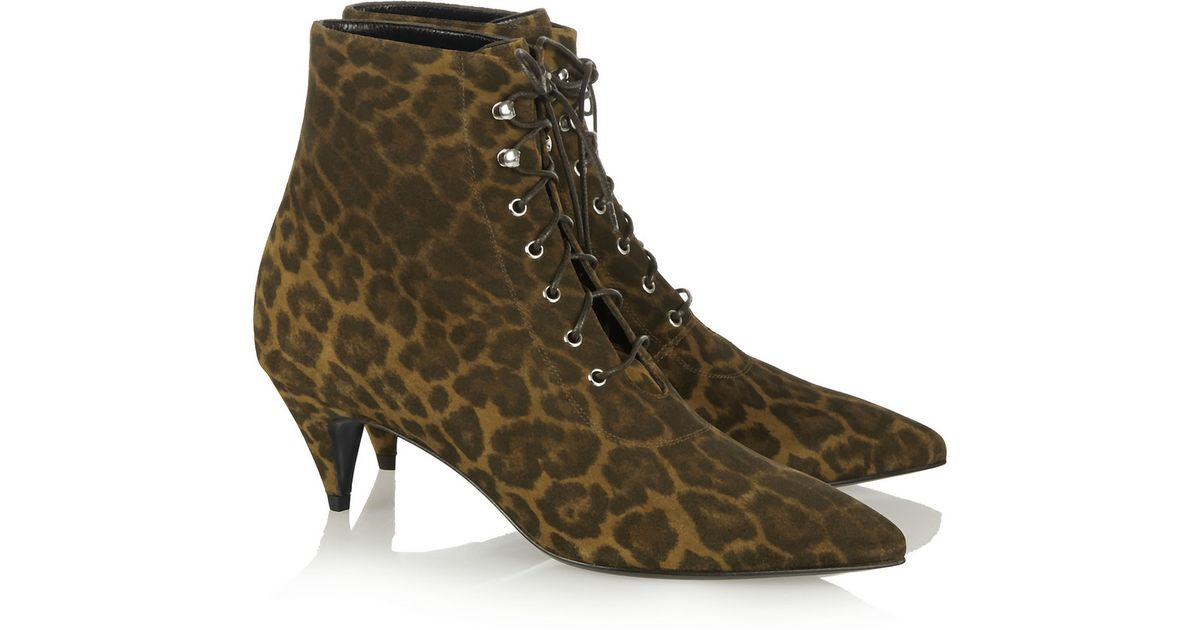 8caee83bd4cc Saint Laurent Leopard-Print Brushed-Suede Ankle Boots in Brown - Lyst