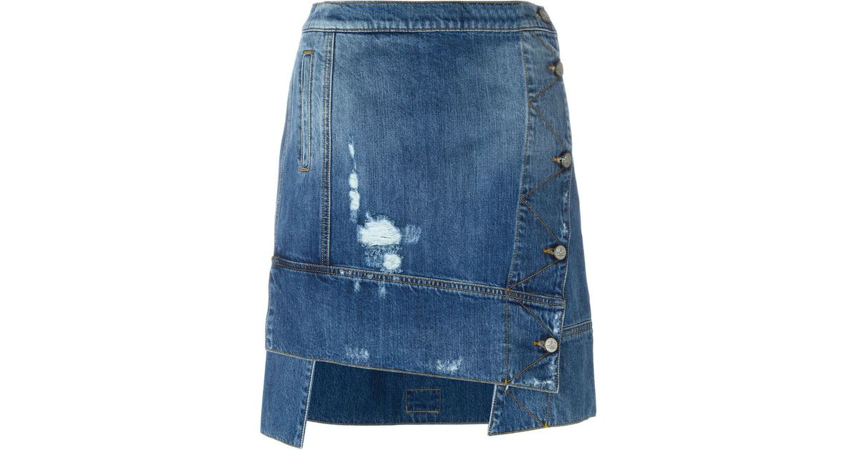 25bbe04fab Vivienne Westwood Anglomania Deconstructed Denim Skirt in Blue - Lyst