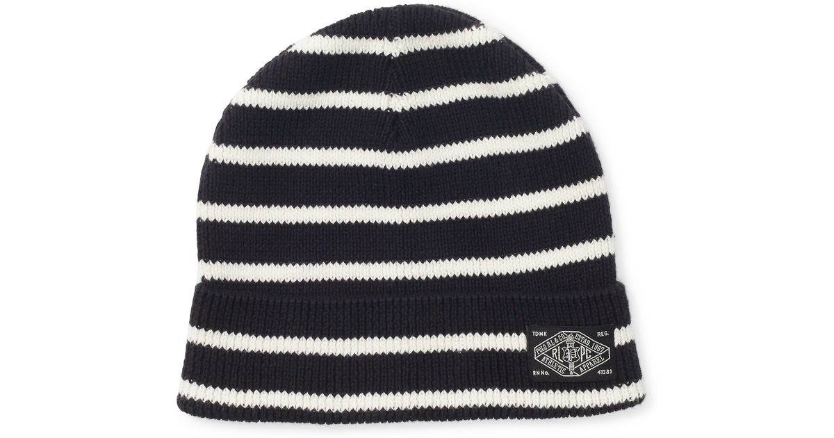 polo ralph lauren knit cotton cap in black for men lyst. Black Bedroom Furniture Sets. Home Design Ideas