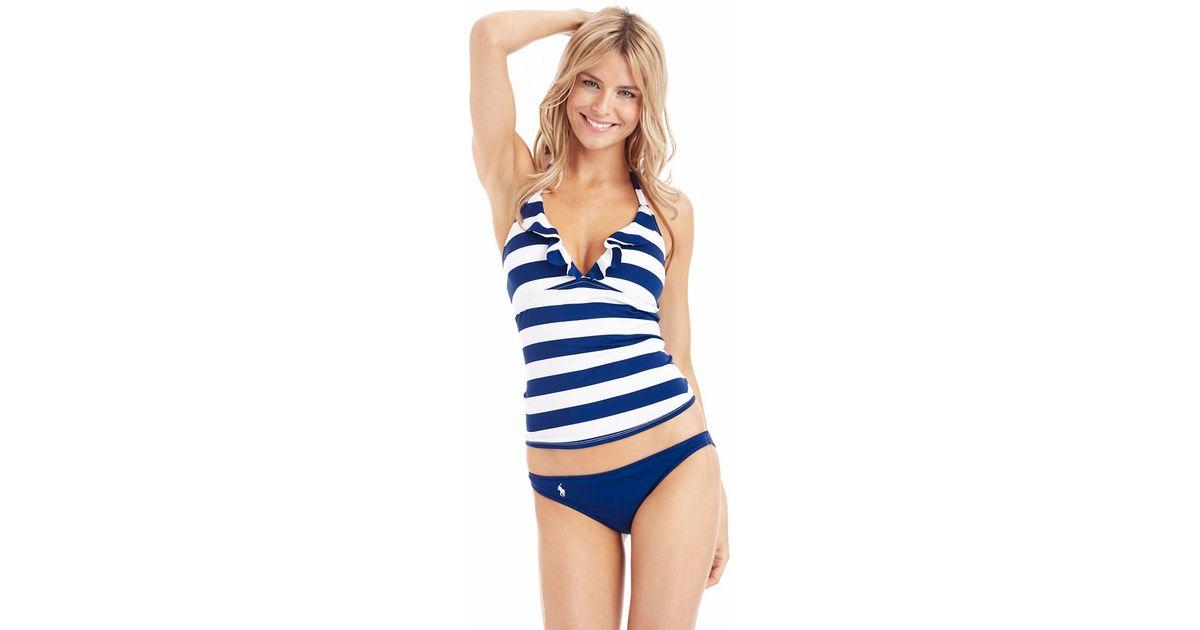38d17ffb05505 Polo Ralph Lauren Striped Ruffle Swim Halterkini in Blue - Lyst