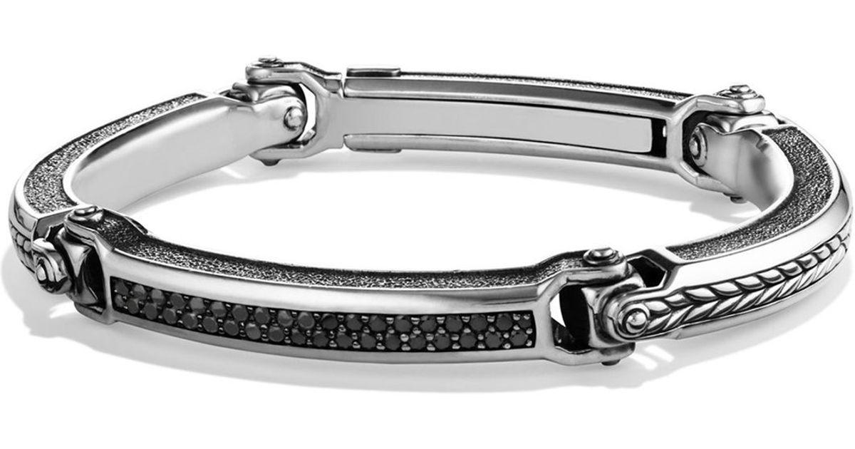 Lyst David Yurman Chevron Id Bracelet With Black Diamonds In Metallic For Men