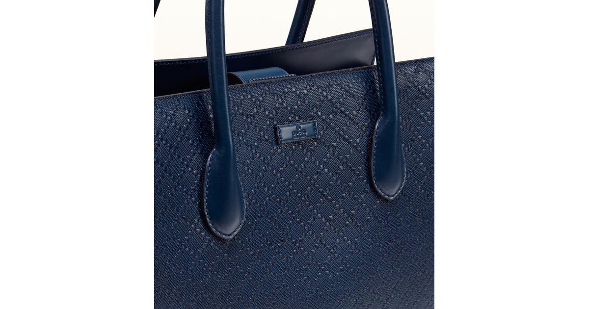 85e4a176897 Lyst - Gucci Bright Diamante Leather Top Handle Bag in Blue