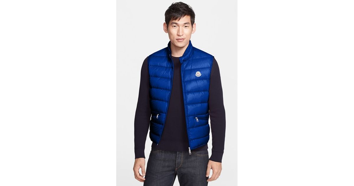d4c9046e616e Lyst - Moncler  gui  Quilted Goose Down Vest in Blue for Men
