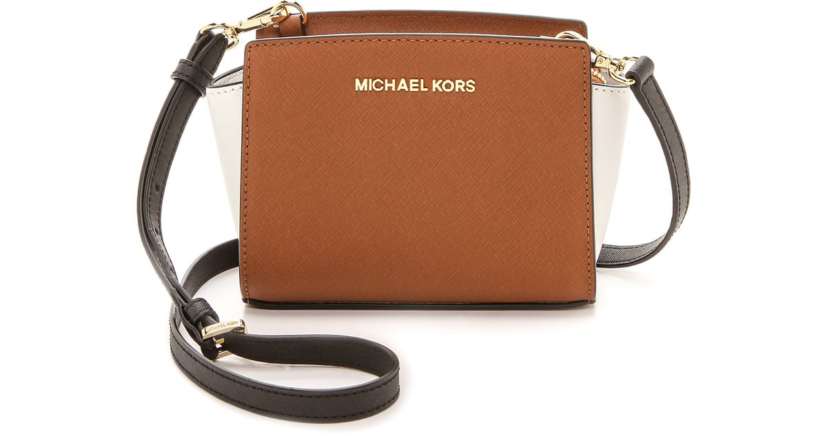 7c8f1fc54e92 italy lyst michael michael kors colorblock selma mini messenger bag  luggagewhiteblack in brown ea01e 86174