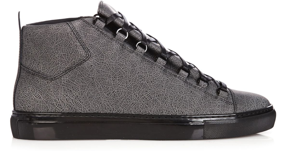 Balenciaga Arena Cracked-Print High-Top Trainers in Gray for Men - Lyst f885a2274