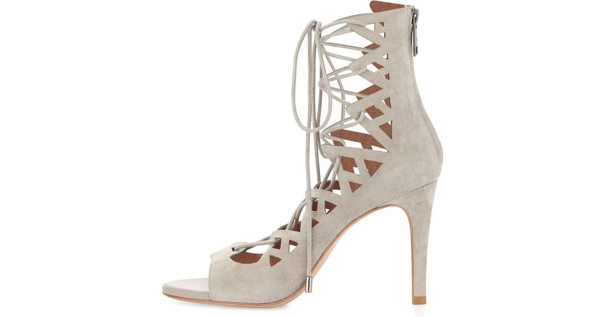 0b2eb7e1940d Lyst - Joie Quinn Suede Lace-Up Sandal in Gray