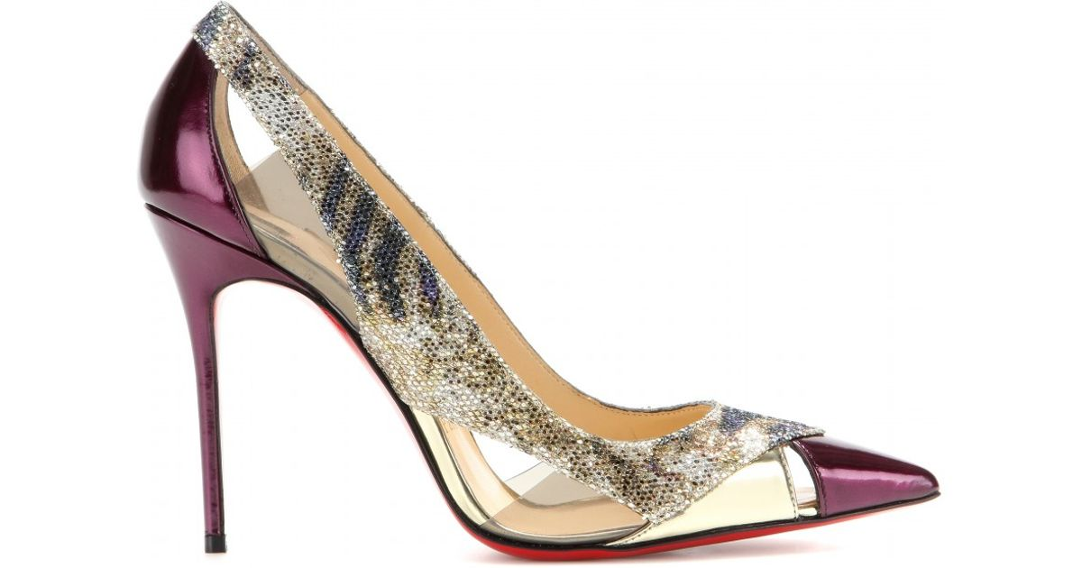 6bb321663f3d ... italy christian louboutin galata 100 glitter and leather pumps in  metallic lyst e5ece 81d40
