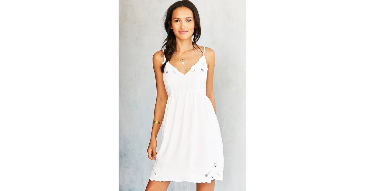 Lyst staring at stars applique babydoll slip dress in white