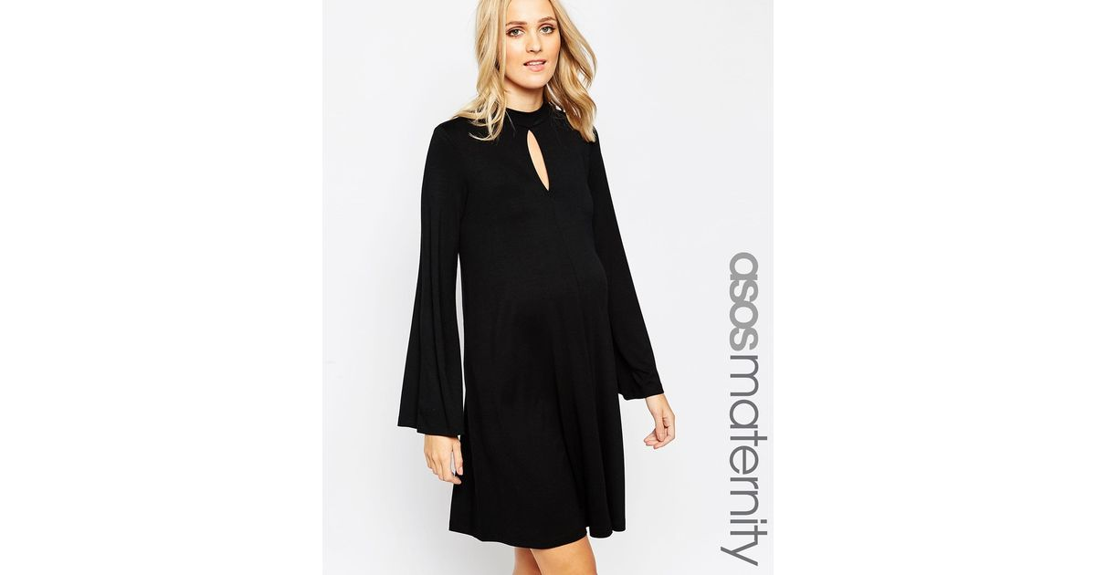 Lyst Asos Maternity Swing Dress With Keyhole Detail In Black
