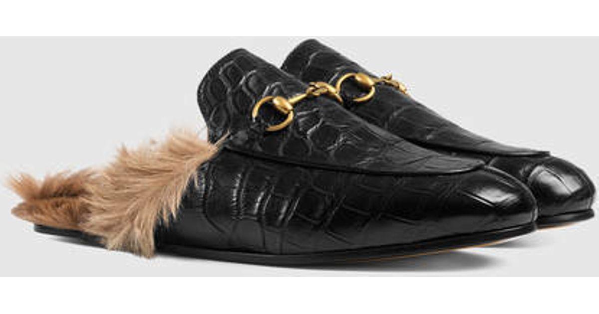 6a457f83f Lyst - Gucci Princetown Crocodile Slipper in Black